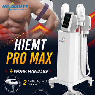 Newest Aesthetics 4 Handle Electromagnetic Ems Muscle Stimulation Buttocks Lift Arm Body Shaping Hiemt Muscle Machine Air Cooling System